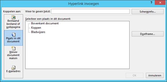 Een koppeling maken naar een locatie in het huidige document