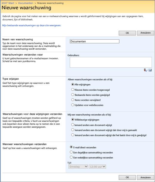 Pagina Opties voor meldingen in SharePoint 2007