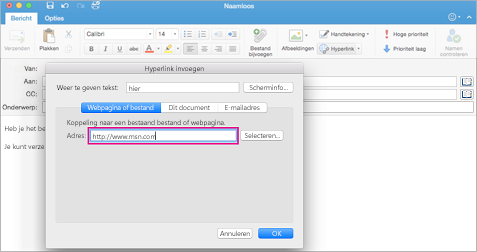 Dialoogvenster Hyperlink in Outlook voor Mac