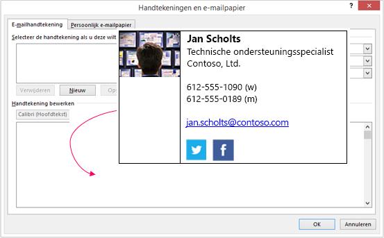 Aangepaste handtekeningvak plakken in het tekstvak van e-mail handtekening in de handtekeningen en e-mailpapier-dialoogvenster
