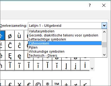 Selecteer cijfervormen in het dialoogvenster Subset om weer te geven breuken en andere wiskundige symbolen