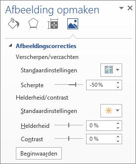 Opties voor afbeeldingscorrecties in het deelvenster Afbeelding opmaken