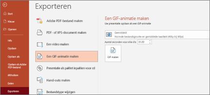 Bestand > Pagina exporteren, waar GIF-animatie maken is gemarkeerd