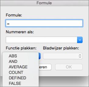 Selecteer in het vak Formule de functie uit de lijst Functie plakken