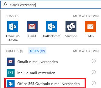 Schermafbeelding: Actie selecteren: Office 365 Outlook - Een e-mail verzenden