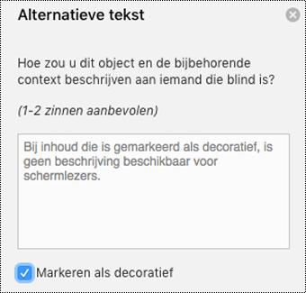 Markeren als Decoratief selectievakje is ingeschakeld in Word voor Mac deelvenster alternatieve tekst.
