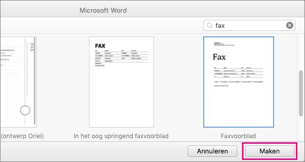Als u een faxvoorblad wilt maken, zoekt u naar 'fax', selecteert u een sjabloon en klikt u op Maken.