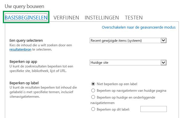 Het tabblad BASIS tijdens het configureren van de query in een webonderdeel Inhoud zoeken