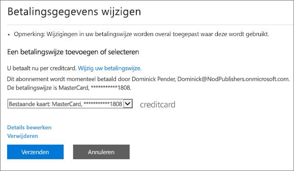 Het deelvenster Betalingsgegevens wijzigen voor een abonnement dat momenteel wordt betaald per creditcard.