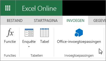 Schermafbeelding van een close-up van de groep Invoegtoepassingen op het tabblad Invoegen op het lint met de cursor wijzend naar Office-invoegtoepassingen.