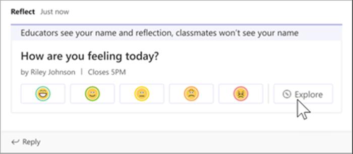 de weergave voor docenten van de aankondiging van de reflect-check-in in het klaskanaal. Een cursor zweeft over de knop Verkennen.