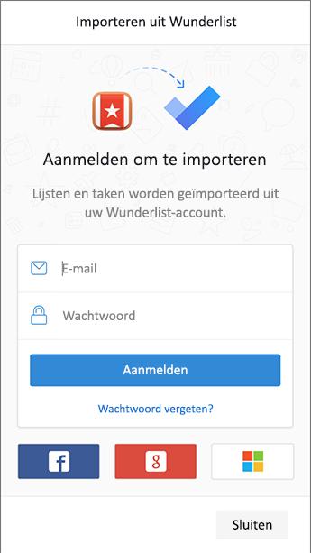 Schermafbeelding van takenbalk met het teken in het scherm om Wunderlist te openen in de de import.