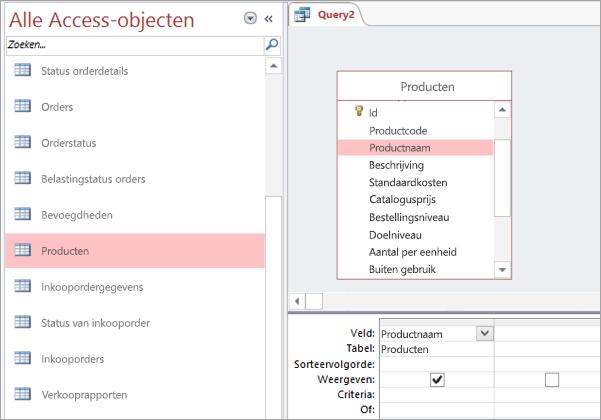 Schermafbeelding van de weergave Alle Access-objecten
