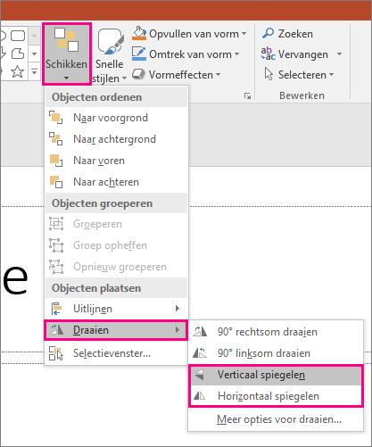 De opties Rangschikken > Draaien > Spiegelen in PowerPoint.