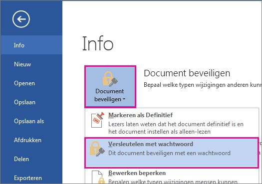 Uw document met een wachtwoord beveiligen