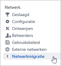 Schermafbeelding van het menu-onderdeel Netwerkmigratie voor Yammer-beheerders
