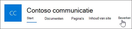 Bovenste menu communicatiesite