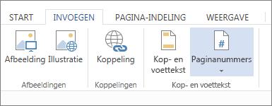 afbeelding van de optie paginanummers op het tabblad invoegen