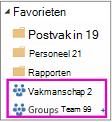 Lijst Favorieten met twee gemarkeerde groepen