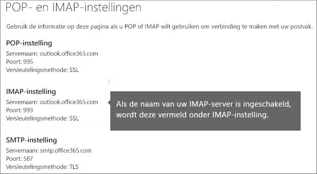 Toont de koppeling voor instellingen van POP-of IMAP-toegang