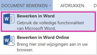 Schermafbeelding van Word Online met Bewerken in Word geselecteerd