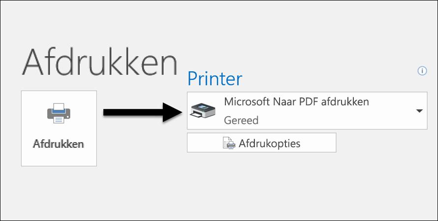 Gebruik de opdracht Afdrukken wanneer u een e-mailbericht naar een PDF-bestand wilt afdrukken.