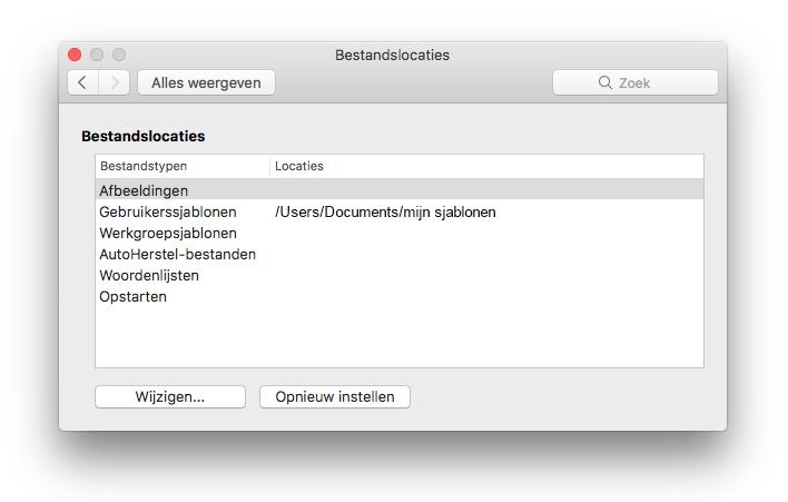 Schermafbeelding van het deelvenster File locaties voorkeur uit Microsoft Word