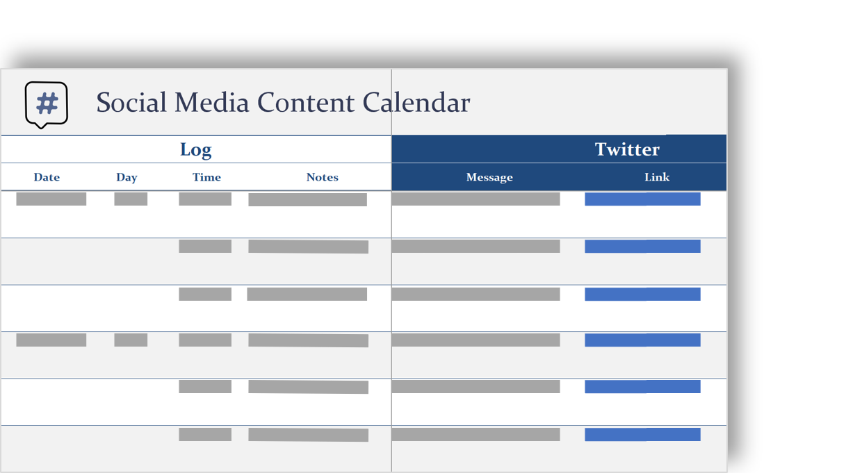 conceptuele weergave van een agenda van sociale media-inhoud