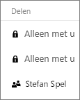 Schermafbeelding van de kolom Delen in OneDrive voor Bedrijven, waarin gedeelde en niet-gedeelde items worden weergegeven