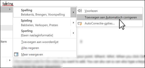 Het contextmenu van de editor onder een verkeerd gespeld woord met Toevoegen aan Automatisch corrigeren gemarkeerd
