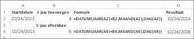 Voorbeelden van het optellen en aftrekken van datums