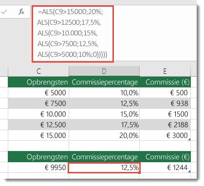 Formule in cel D9 is ALS(C9>15000,20%,ALS(C9>12500,17.5%,ALS(C9>10000,15%,ALS(C9>7500,12.5%,ALS(C9>5000,10%,0)))))