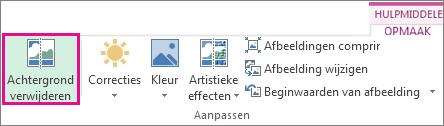de knop achtergrond verwijderen in de groep aanpassen op het tabblad opmaak van hulpmiddelen voor afbeeldingen