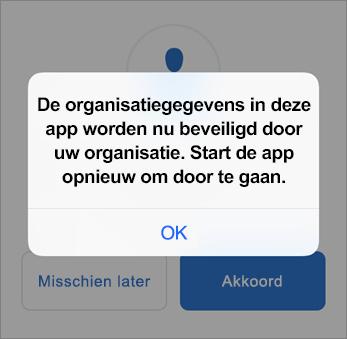 Schermafbeelding die toont dat uw organisatie nu uw Outlook-app beveiligt