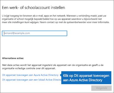 Klik op Dit apparaat toevoegen aan Azure Active Directory