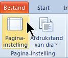 Selecteer op het tabblad Ontwerpen op het lint de optie Pagina-instelling.