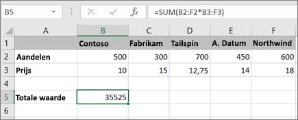 Een voorbeeld van een matrixformule waarmee één resultaat wordt berekend