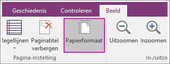Schermafbeelding van de knop PaperSize in OneNote 2016.