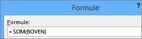 De formule Som(boven) wordt weergegeven.