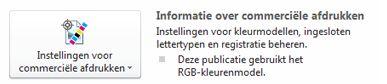instellingen voor commerciële afdrukken in publisher 2010
