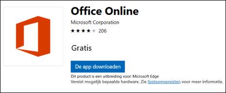 De Office Online-extensie-pagina in de Microsoft Store