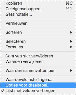 Opties voor draaitabel in Excel voor Mac-snelmenu.