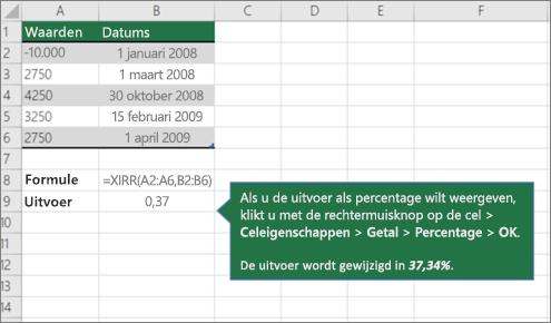 Een voorbeeld van de functie IR.