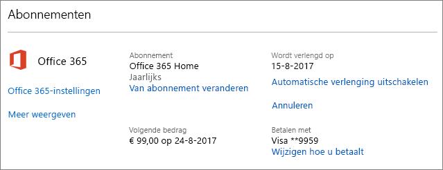 Schermafbeelding van de pagina Services en abonnementen.
