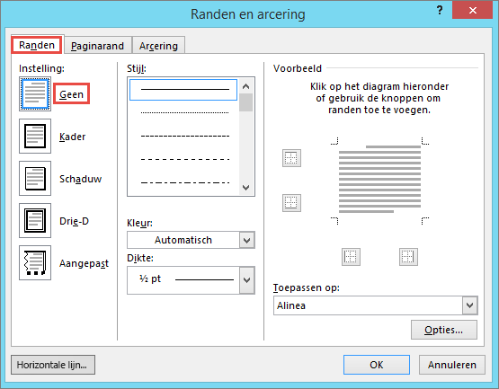 Dialoogvenster Outlook 2010 randen en arcering
