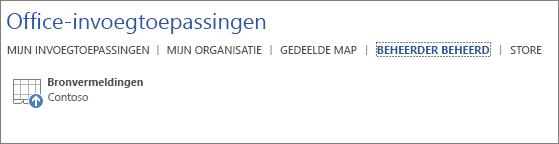 De schermafbeelding bevat het tabblad Door beheerder beheerd van de pagina Office-invoegtoepassingen in een Office-toepassing. De invoegtoepassing Bronvermeldingen wordt weergegeven op het tabblad.