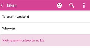 Een niet-gesynchroniseerde notitie in OneNote voor Android