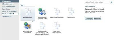 Dialoogvenster Meer webonderdelen