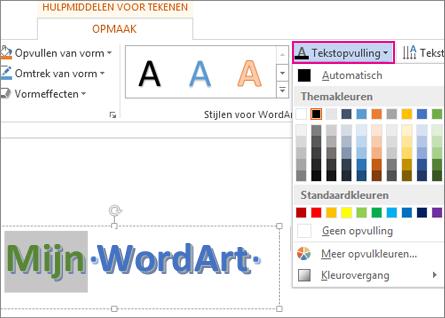 Galerie Kleur van tekstopvulling gevonden op het tabblad Hulpmiddelen voor tekenen - Opmaak