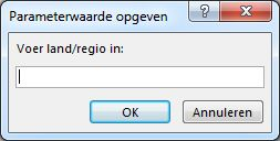 """Een parametervraag met de tekst """"Voer land/regio in""""."""